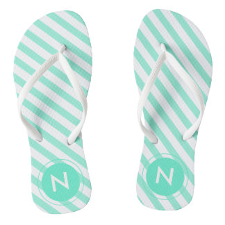 Teal & white striped Monogrammed Flip flops