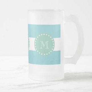 Teal White Stripes Pattern, Mint Green Monogram 16 Oz Frosted Glass Beer Mug