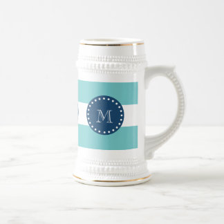 Teal White Stripes Pattern, Navy Blue Monogram 18 Oz Beer Stein