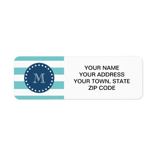 Teal White Stripes Pattern, Navy Blue Monogram Return Address Label