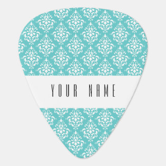 TEAL WHITE VINTAGE DAMASK PATTERN 1 GUITAR PICK