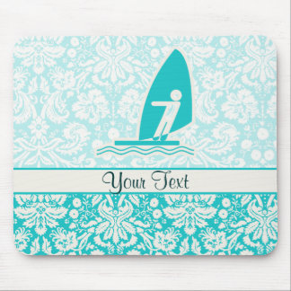 Teal Windsurfing Mouse Pad