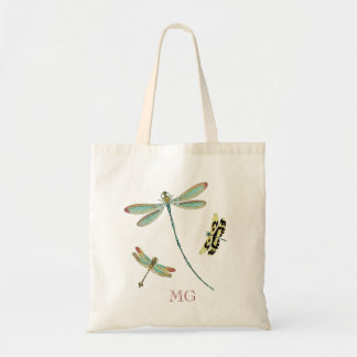 Teal-Winged Dragonflies Monogram Tote Bag