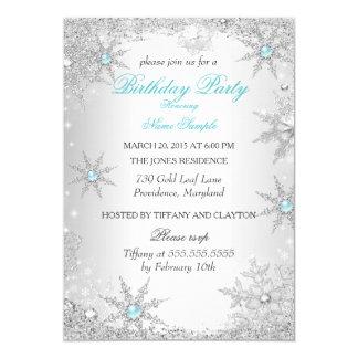 "Teal Winter Wonderland Birthday Party 5"" X 7"" Invitation Card"