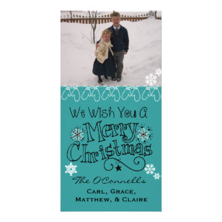 Teal Wish You Merry Christmas Photo Card