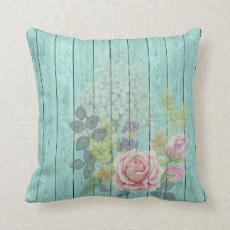 Teal Wood Effect Pink Roses Floral Bouquet Throw Pillow