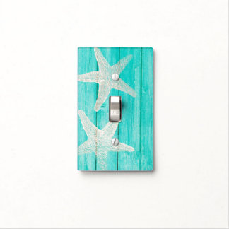 Teal Wood & Starfish Beach Elegant Chic Tropical Light Switch Cover