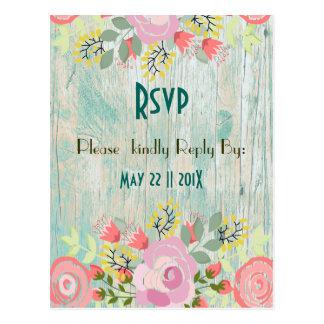 Teal wooden floral enclosure postcard