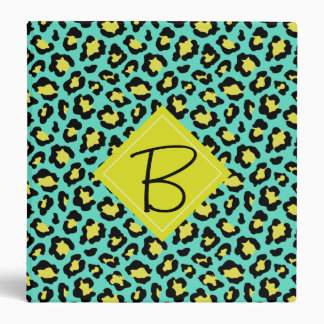 Teal Yellow Citron Animal Print Binder