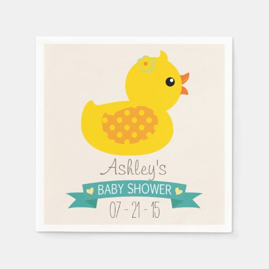 Teal & Yellow Duckling, Duck; Baby Shower Paper Napkins