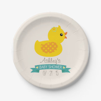 Teal & Yellow Duckling, Duck; Baby Shower Paper Plate