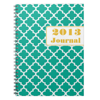 Teal yellow Moroccan tile trendy annual journal Notebook