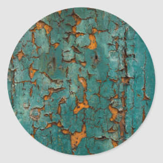 Teal & Yellow Peeling Paint Classic Round Sticker