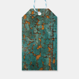 Teal & Yellow Peeling Paint Gift Tags