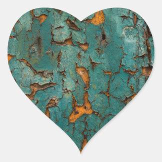 Teal & Yellow Peeling Paint Heart Sticker