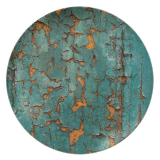 Teal & Yellow Peeling Paint Plate