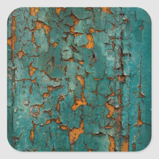 Teal & Yellow Peeling Paint Square Sticker