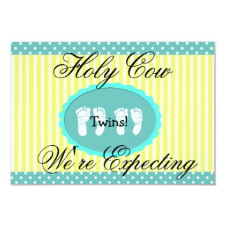 "Teal & Yellow ""We're Expecting Twins"" Announcement"