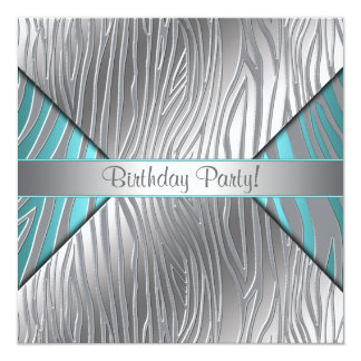 Teal Zebra Any Number Brithday Invitation Template