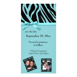 Teal Zebra Save The Date Announcement Picture Card