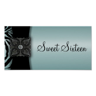 Teal Zebra Sweet Sixteen Party Banner Poster