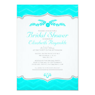 Teal Zigzag Bridal Shower Invitations