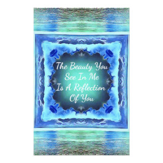 Teals Blue Friendship Beauty Reflection Quote Stationery