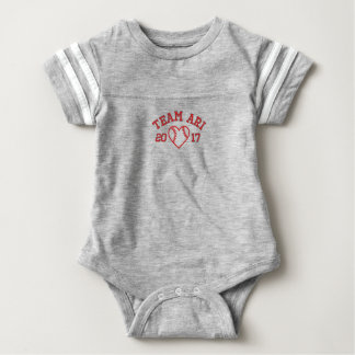 Team Ari baseball heart football baby bodysuit
