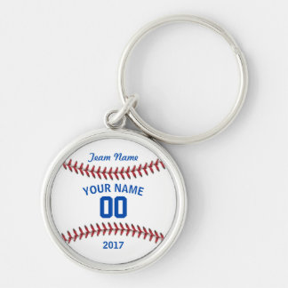 Team Baseball Jersey Sport Silver-Colored Round Keychain