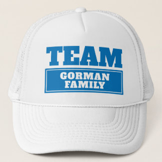 Team blue personalized team name or family name trucker hat