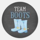 Team Boots Boy Gender Reveal Classic Round Sticker
