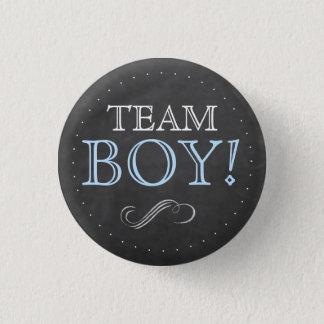Team Boy Blue Chalkboard Baby Shower Small 1 Inch Round Button