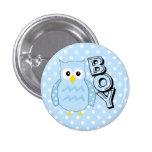 Team Boy Owl Baby Shower 1 Inch Round Button