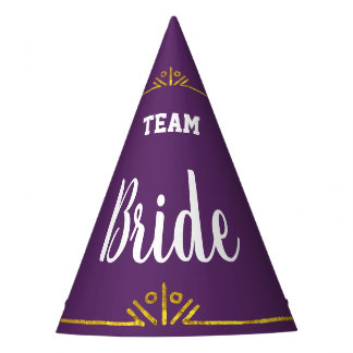 Team Bride Any Custom Color with Gold Party Hat