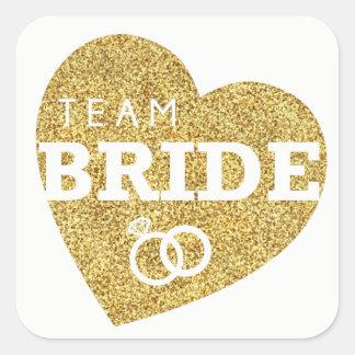 Team Bride Bridal Shower Stickers Gold Glitter