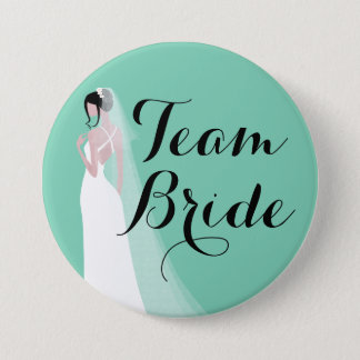 Team Bride Brunette Bride 3 Inch Round Button