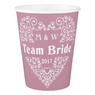 Team Bride custom monograms & year paper cups