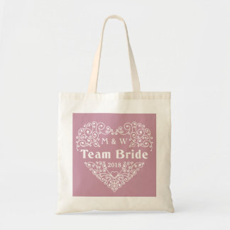 Team Bride custom monograms & year tote bags