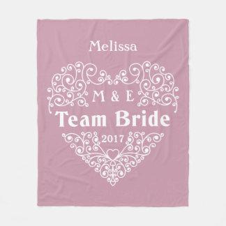 Team Bride custom monograms & year wedding blanket