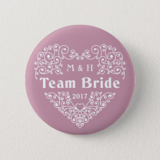 Team Bride custom monograms & year wedding buttons