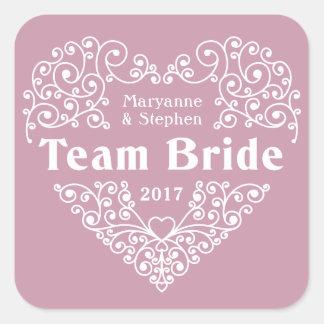 Team Bride custom names & year wedding stickers