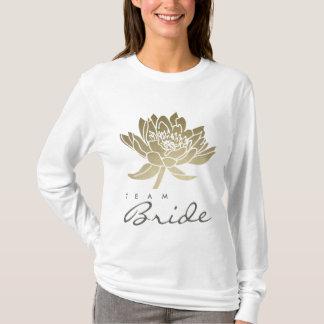 TEAM BRIDE GLAMOROUS GOLD WHITE LOTUS FLORAL T-Shirt