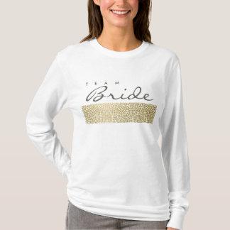 TEAM BRIDE GLAMOROUS GOLD WHITE MOSAIC DOTS T-Shirt