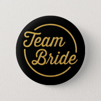 {Team Bride} Glittery Gold 2 Inch Round Button