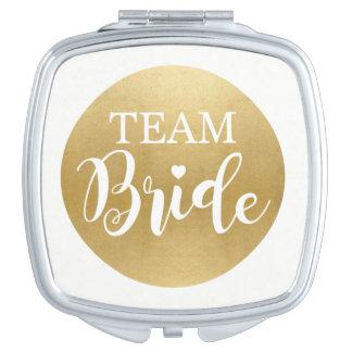 TEAM BRIDE Gold Bridesmaids Shower Wedding Gift Travel Mirrors