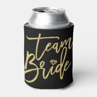 Team Bride Gold Brush Diamond Bridal Party Cooler