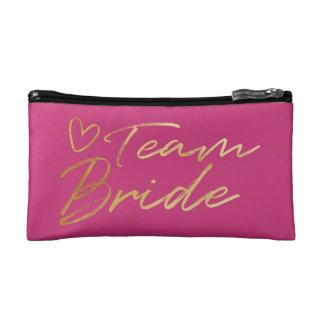 Team Bride - Gold faux foil cosmetic bag