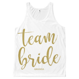 Team Bride Gold Glitter Bachelorette All-Over-Print Tank Top