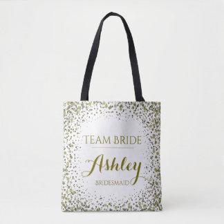 Team Bride Gold Glitter Confetti Dots Tote Bag