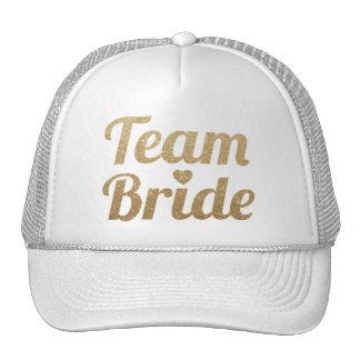 Team Bride Gold Glitter White Mesh Trucker Hat Cap